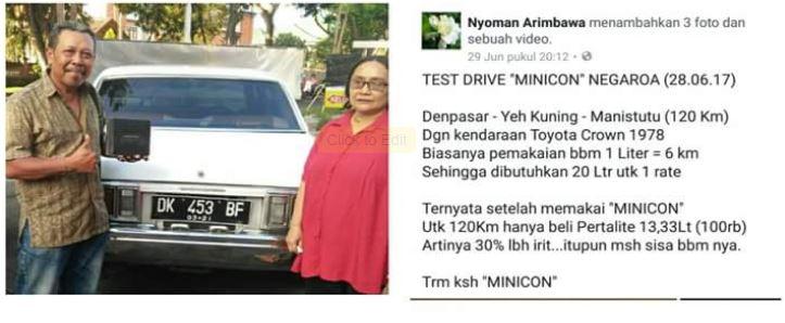 testimoni penggunaan minicon